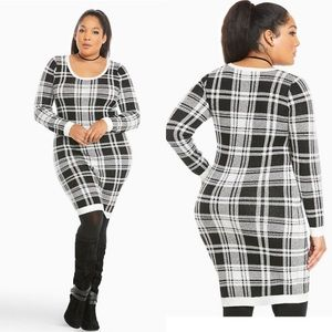 Torrid Black/White Plaid Sweater Shift Dress